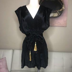 H&M black satin deep V romper / playsuit